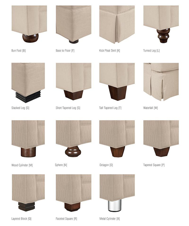 Base and leg styles all drexel heritage upholstery base for Types of furniture styles