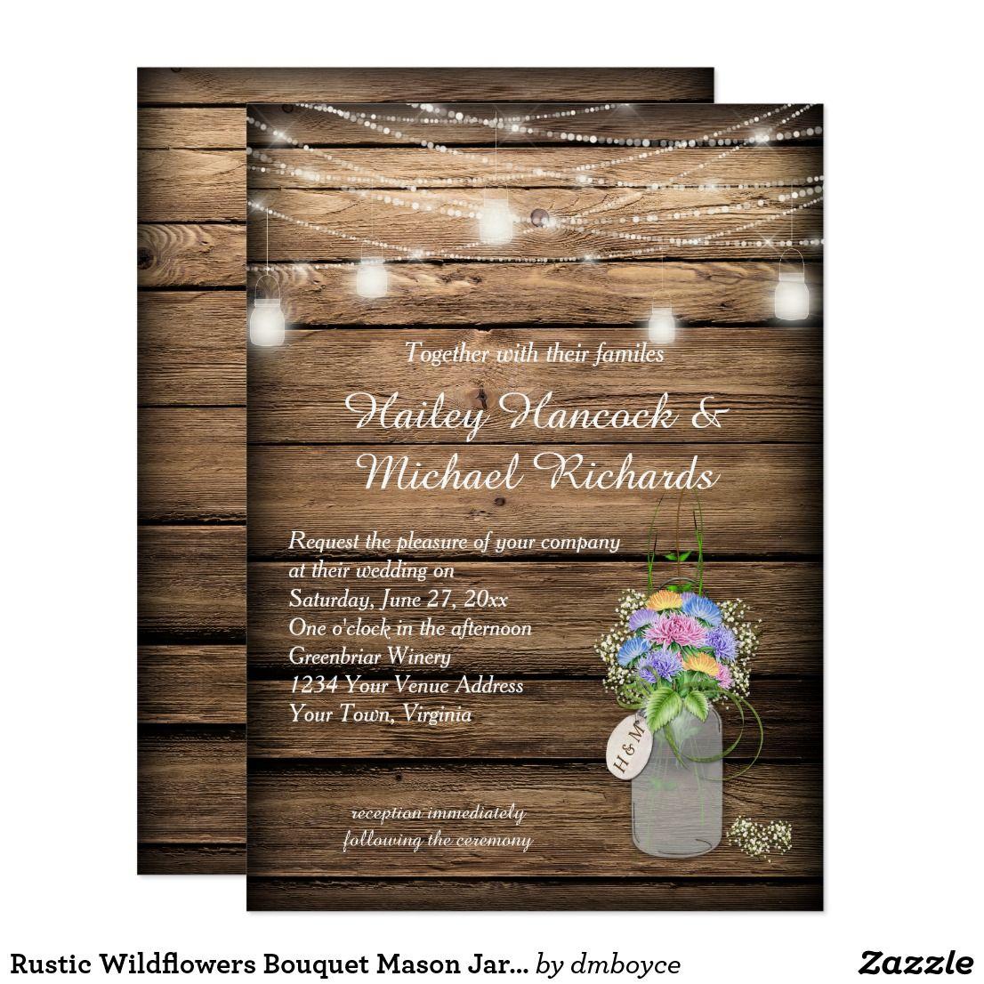 Rustic Wildflowers Bouquet Mason Jar Wedding Card Yellow