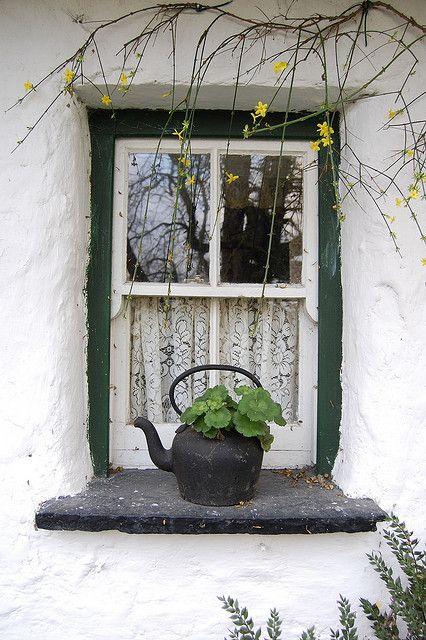 Irish Cottage Window by rhiannakelly, via Flickr. I love the green trim around the white.