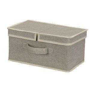 Household Essentials Small Dual Lidded Storage Box Recycled Cotton Blend Material Celery Green