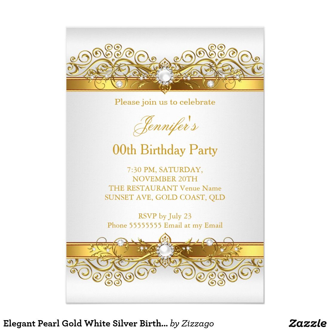 Elegant Pearl Gold White Silver Birthday Party Invitation Zazzle