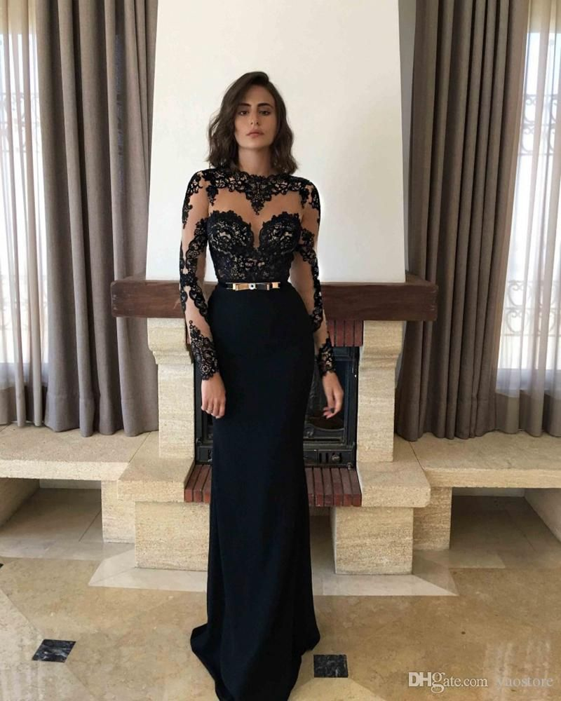 Illusion Black Lace Prom Dresses For Teens Long Sleeves Sheer Neck