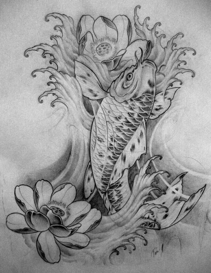 Lotus Flower Koi Fish Swimming Up Stream Towards The Current Koi Fish Tattoo Koi Fish Koi