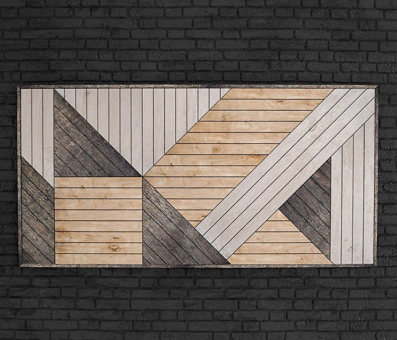 Modern Geometric Wood Wall Art Vertical Wood Wall Art Panel Rustic Wood Wall Art Wood Wall Art Wood Wall