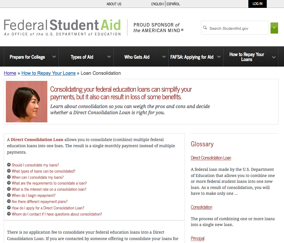 Federal Student Aid Offers Information On Loan Consolidation Financial Aid For College Loan Consolidation Student Loan Payment