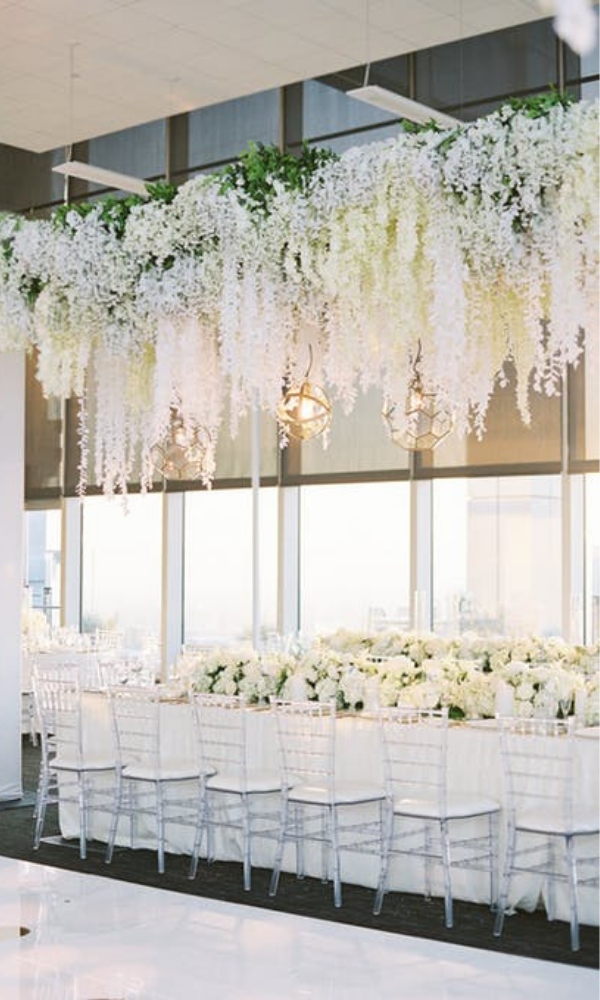 This All White Wedding Featured Gorgeous Florals With Touches Of Greenery Suspe White Wedding Decorations Wedding Ceiling Decorations White Floral Centerpieces