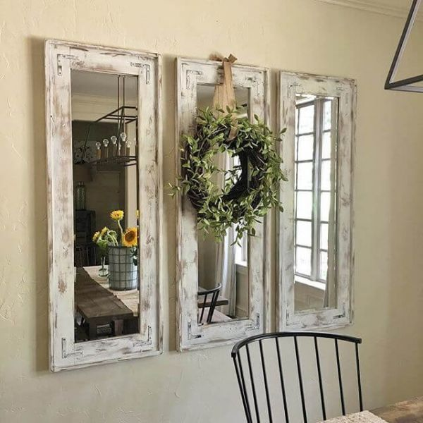 Triad Of Narrow Whitewashed Mirrors Accented With Eucalyptus Wreath Farmhouse Kitchen Decor Cheap Home Decor Dining Room Decor