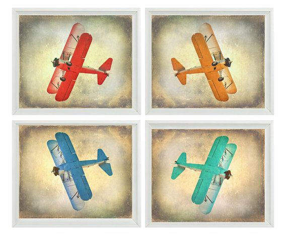 Vintage airplane art print set sale 25 off nursery boys Vintage airplane decor for nursery