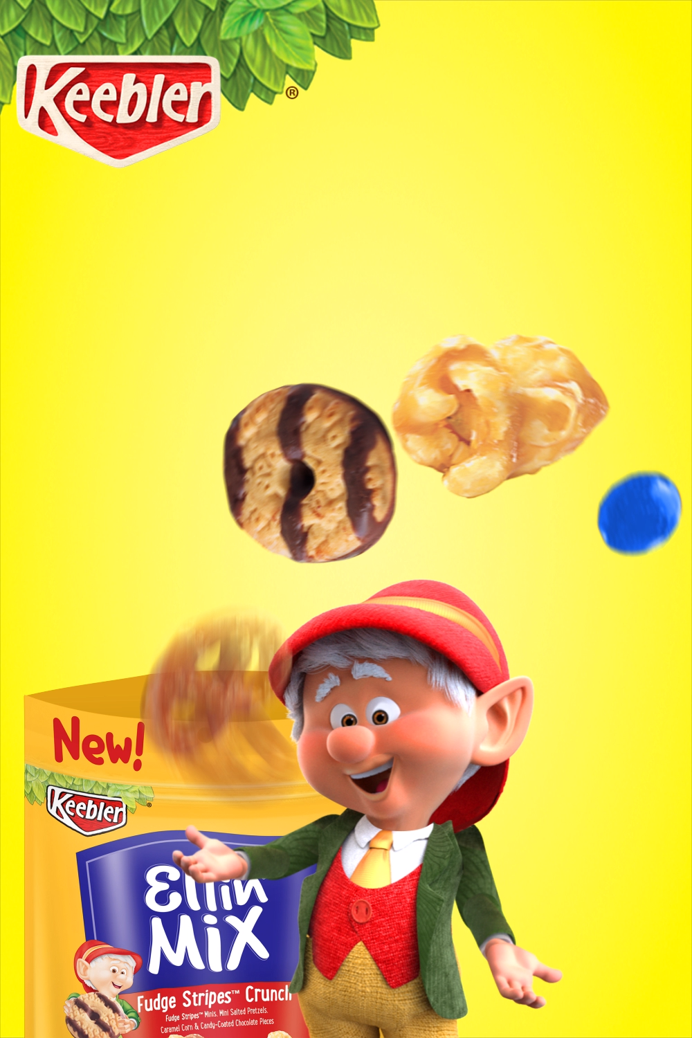 Keebler Elfin Mix is the perfect balance of sweet and salty: Mini Fudge Stripes, caramel corn, pretzels, and candy-coated chocolates!