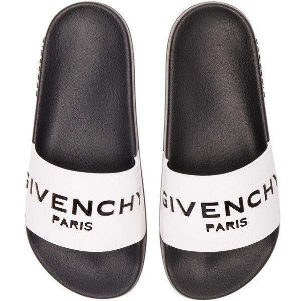 Givenchy Leather Logo Slide Sandals (€335) ❤ liked on Polyvore featuring shoes, sandals, slide sandals, givenchy, givenchy shoes, rubber sole shoes and givenchy sandals