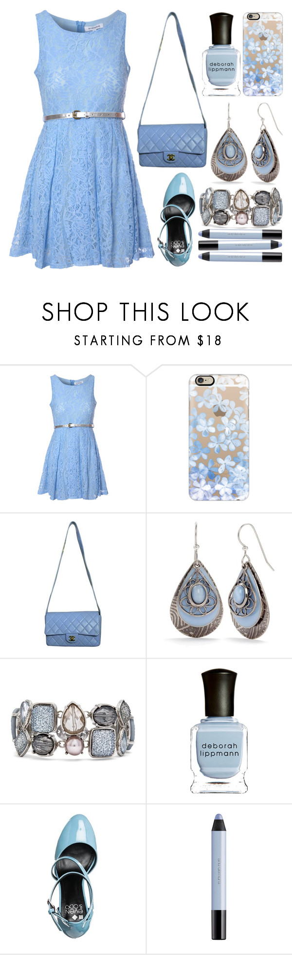 """""""Pastel Blue Spring Outfit"""" by music-and-fashion-111 ❤ liked on Polyvore featuring Glamorous, Casetify, Chanel, Silver Forest, Chico's, Deborah Lippmann, even&odd and shu uemura"""
