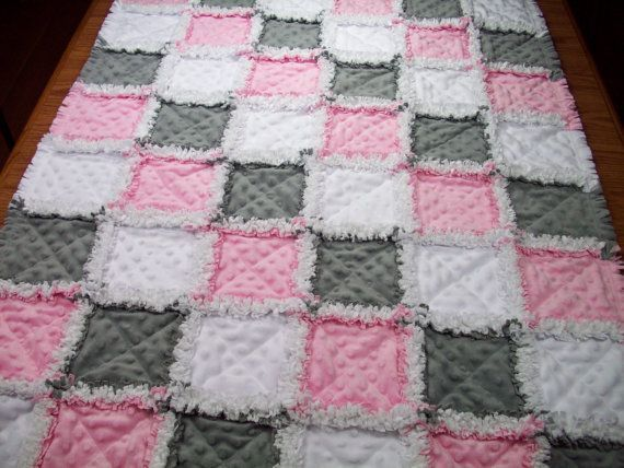 Baby Rag Quilts Pink Grey Baby Quilt Minky By