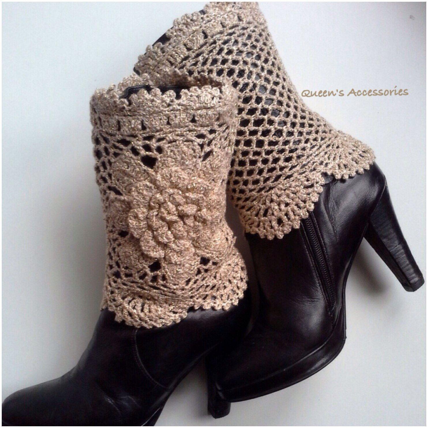 Best Selling Cuffs Crochet Cream Caramel with Gold Metallic Boot ...