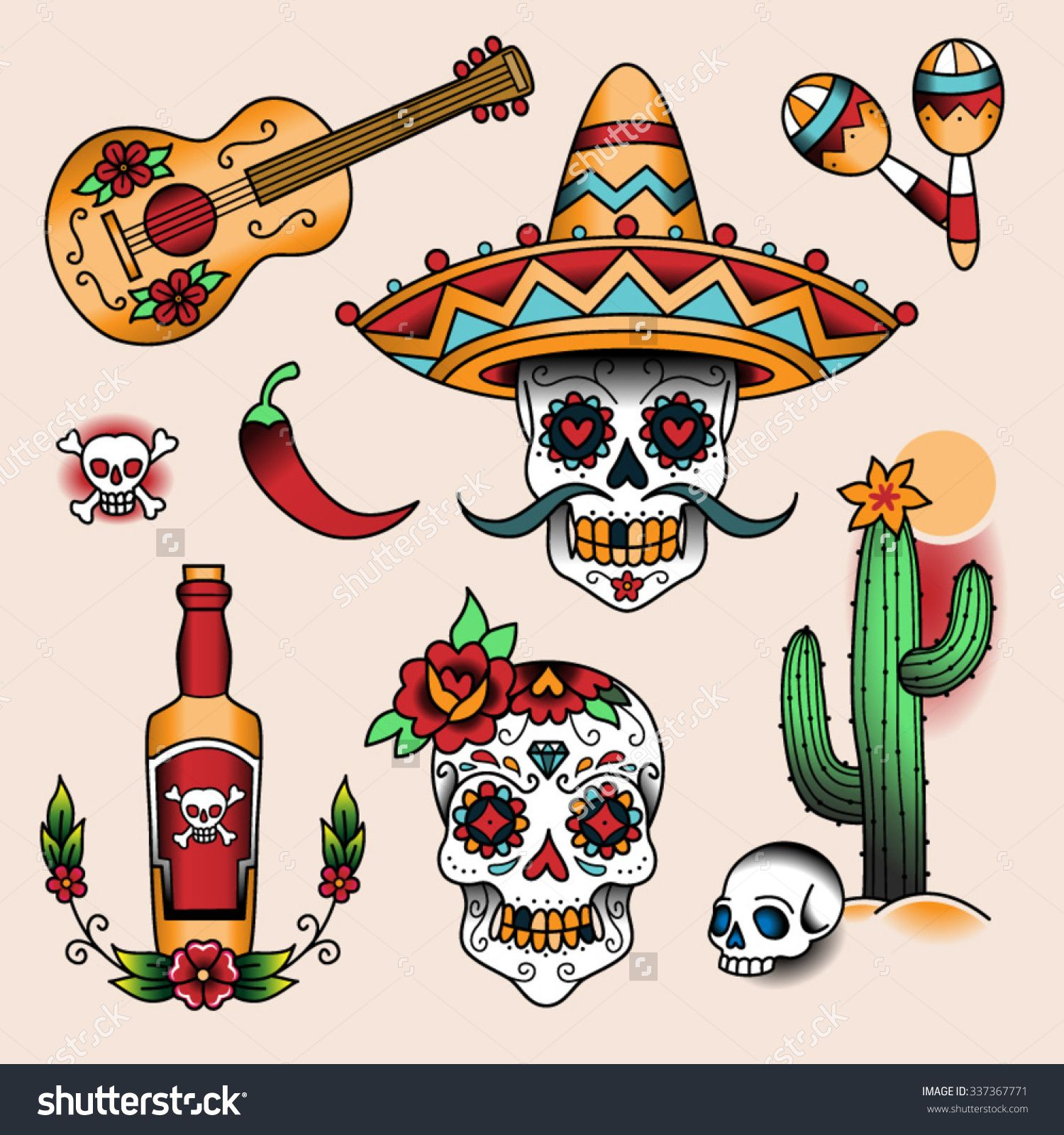 stock vector mexican symbols set of color tattoos in traditional vintage style. Black Bedroom Furniture Sets. Home Design Ideas
