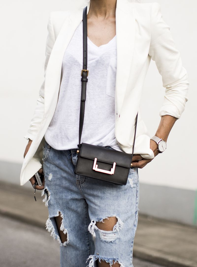 Outfit   White on White + Ripped Jeans fashion landscape