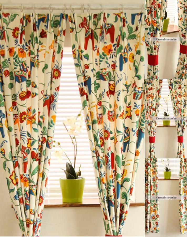 Big And Bold Reactive Dyeing Floral Windows Curtains Curtains Living Room Floral Floral Bedroom Curtains