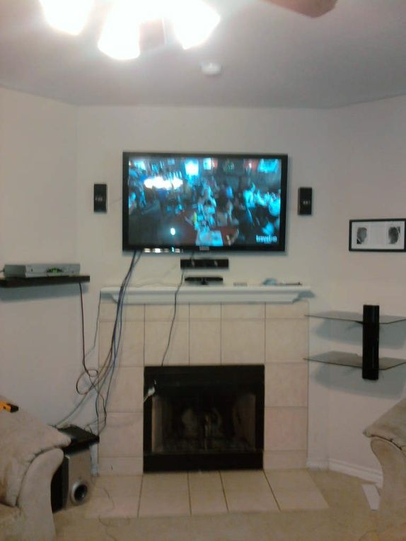 fireplace tv mounted above over wall wires fireplce mount on to cords mntel hide how