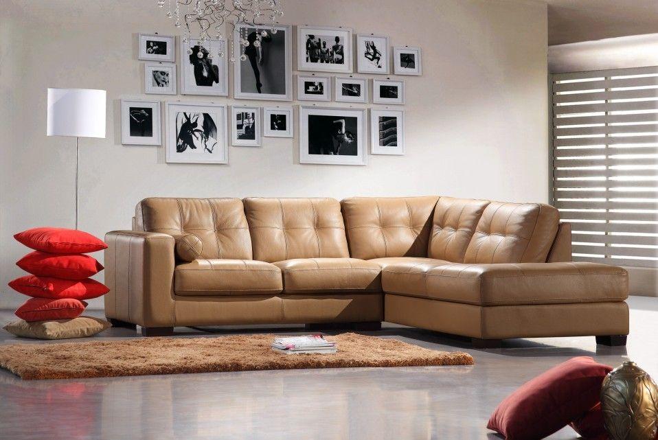 Bella Italia Leather 306 Sectional Sofa Camel Bella