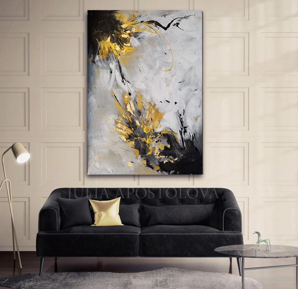 Painting Originalpainting Oldgold Hugeart Abstractart Juliaapostolova Gray Huge Luxury Grey Abstract Canvas Wall Art Wall Art Gold Leaf Gold Wall Art