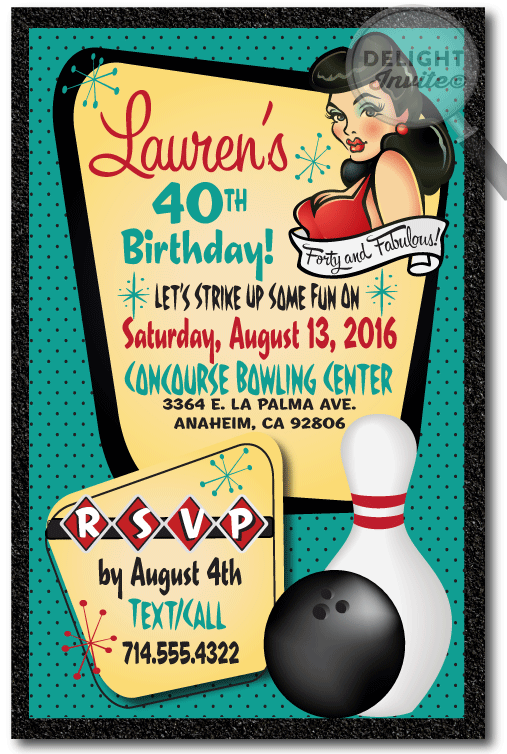 Pin up girl bowling birthday party invitations 40th birthday pin up girl bowling birthday party invitations 40th birthday invitations for women 40 and fabulous 40th birthday party ideas filmwisefo