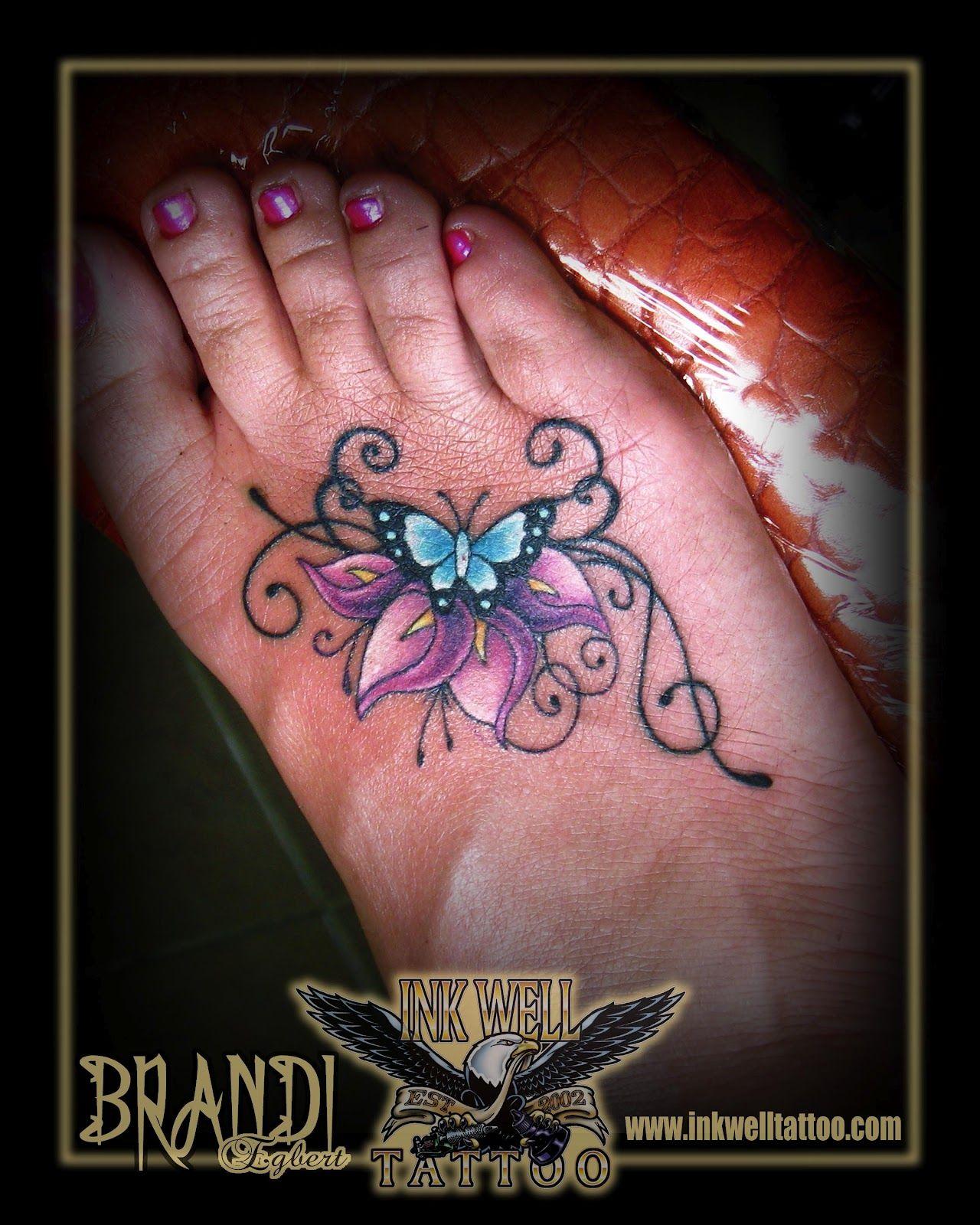 Brandi egbert ink well tattoo butterfly and calla liliy