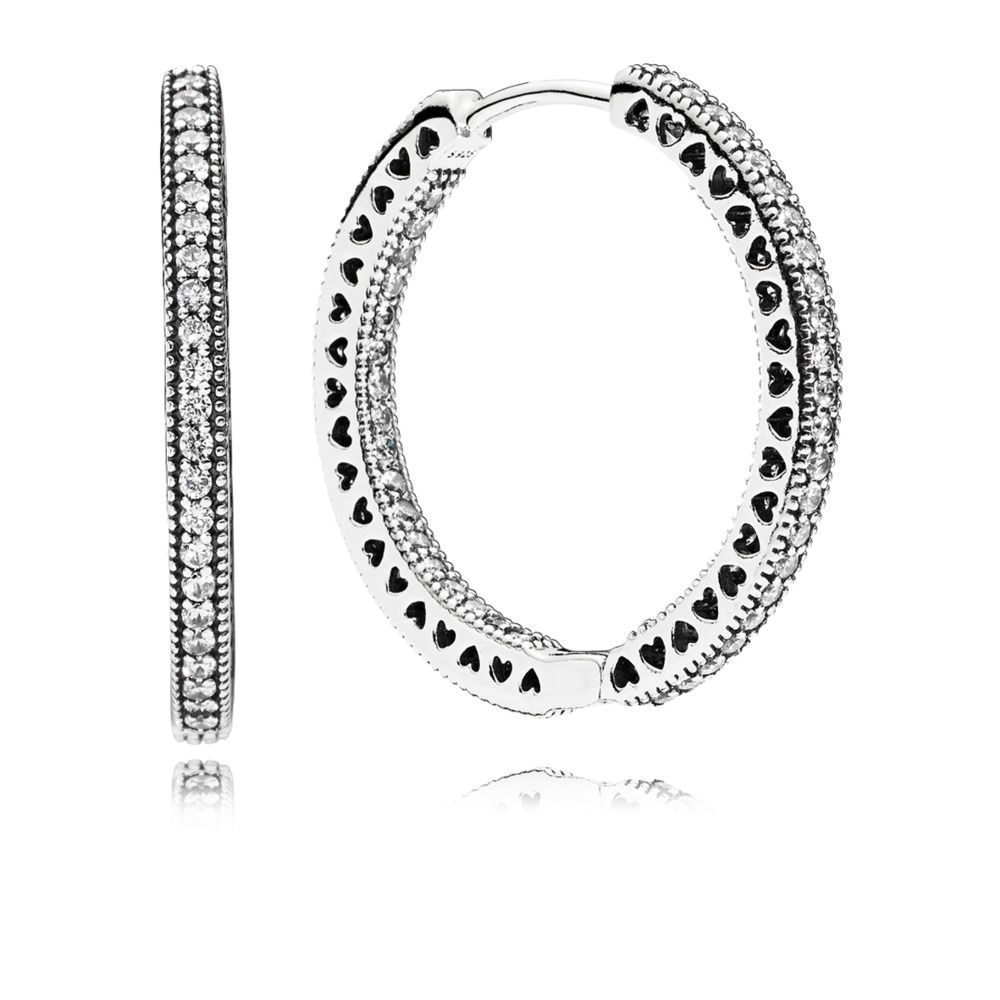 808d8618a Hearts of PANDORA Hoop Earrings, Sterling Silver with Clear CZ | Jewelry |  Pandora earrings, Jewelry, Pandora jewelry