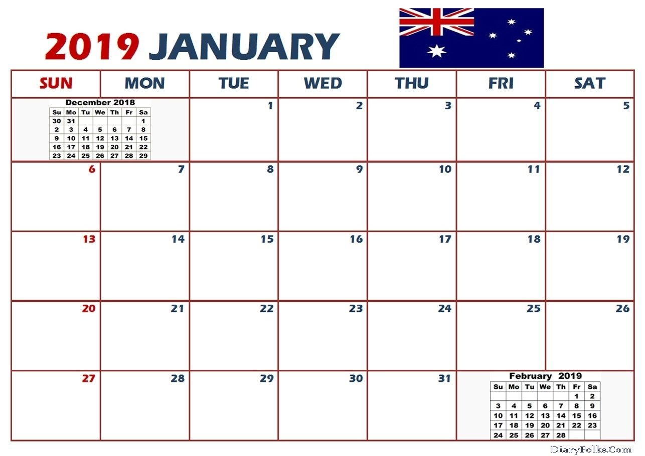 January 2019 Calendar Australia Calendar Australia 2019
