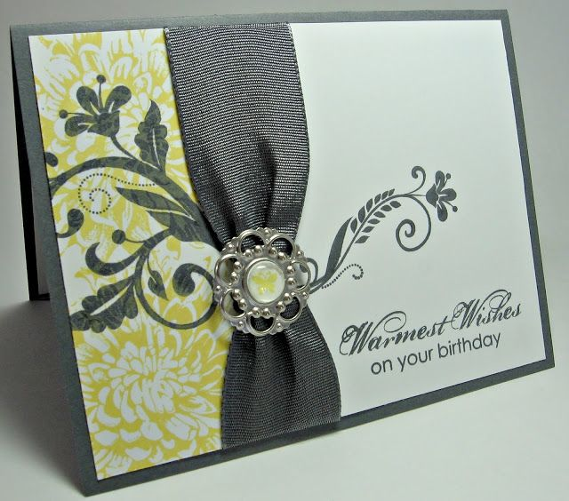 Lovely Yellow Gray Birthday Card With Gray Ribbon Trim Bling Stampingupnorthwithlaurie Greeting Cards Handmade Stamped Cards Beautiful Handmade Cards