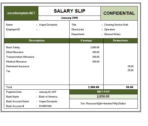 Salary Slip Template 5 Payroll Template Salary Resume Template Free