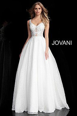 615764a20a2 Off White Embroidered Bodice Sleeveless Prom Ballgown 64105 in 2019 ...