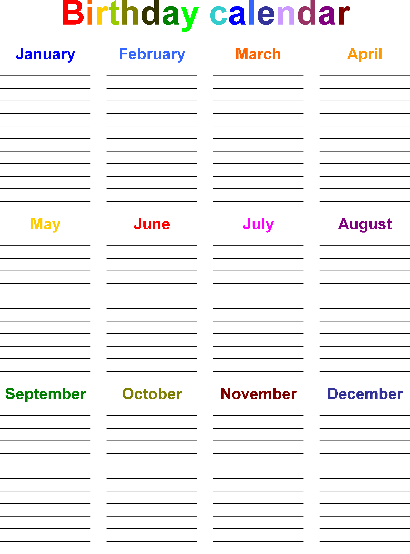 Birthday Calendar Template   Birthday calendar, Family birthday ...