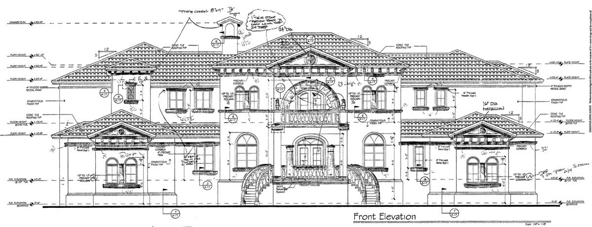 Stone Elevation Drawing : Front elevation mandeville residence cast stone