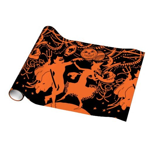 Vintage Halloween Devil Witch Dance Gift Wrap Paper
