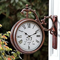 Double Sided Clock/Thermometer Is A Beautiful Addition To Your Patio, Deck  Or Porch. This Outdoor Clock/thermometer Hangs From A Gracefully Arched  Bracket.