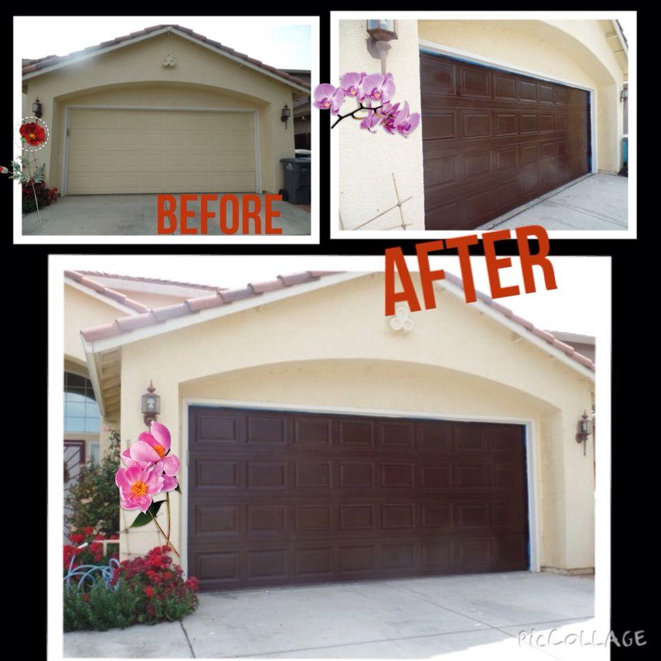 Outdoor garage decorations  Gel stained garage door  Garage  Pinterest  Garage doors Doors