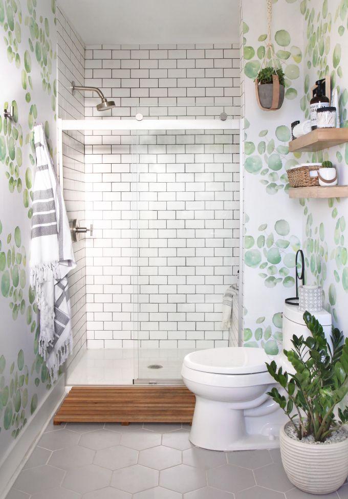 Diy Home Guest Bathroom Makeover With Removable Wallpaper Tile Green Bathroom Bathroom Makeover Diy Bathroom