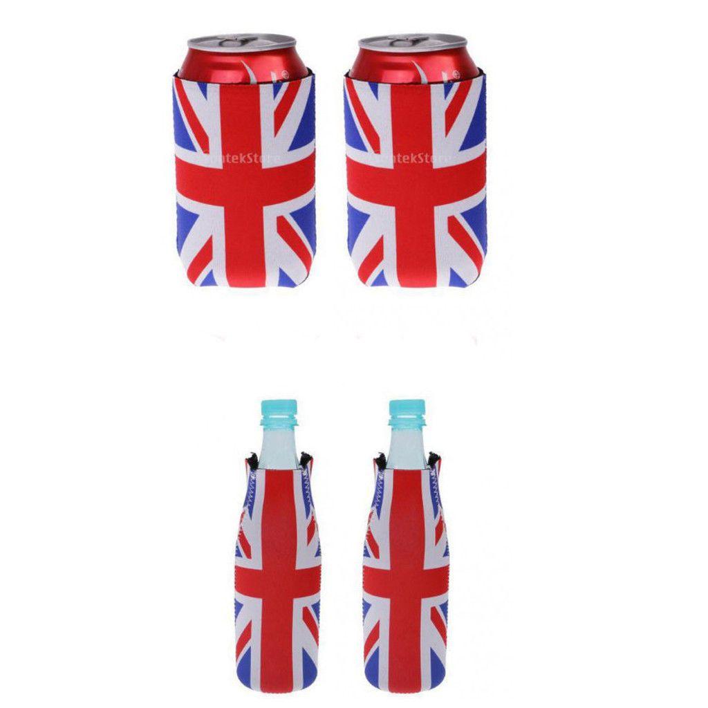 1.89 GBP - 1 Pair Union Jack Uk Flag Can Soda Holder Cooler Wedding ...