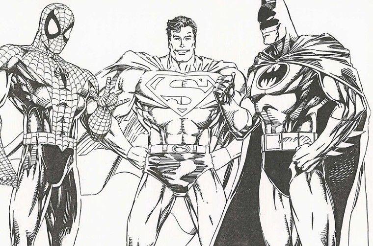 Coloriage Batman Spiderman Superman | desenhos colorir | Pinterest ...