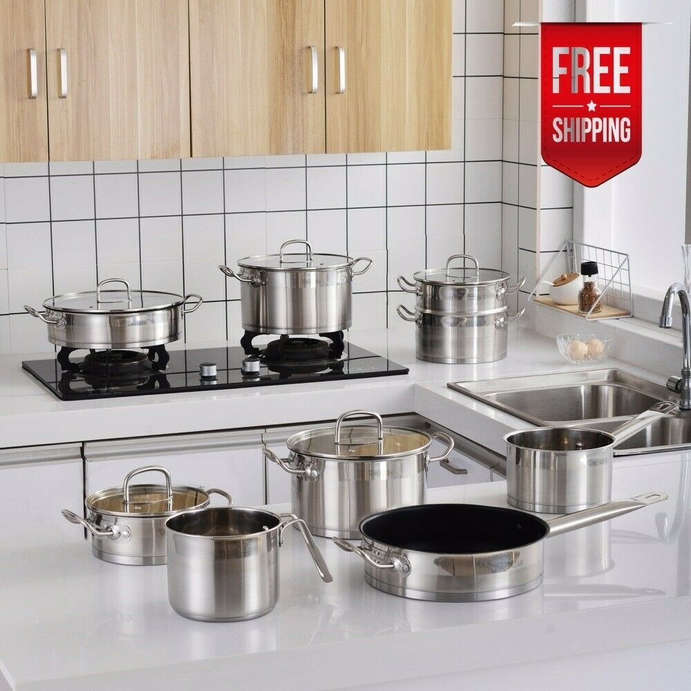 14 Pc Kitchen Cookware Set Stainless Steel Kitchen Cooking Pots Pans Glass Lids Cookware Sets I Kitchen Cookware Sets Cookware Set Stainless Steel Kitchen