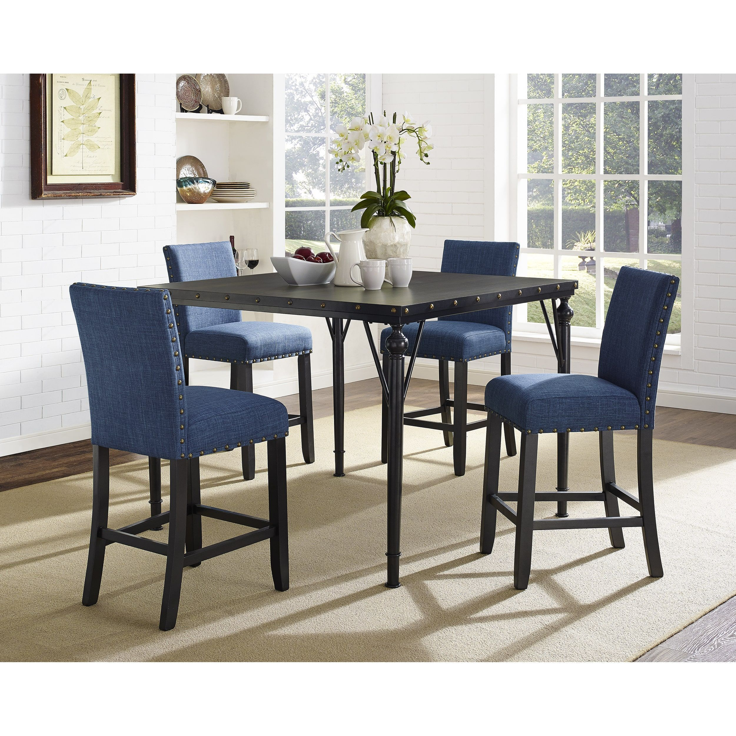 Biony 5-Piece Espresso Wood Counter Height Dining Set with Fabric ...