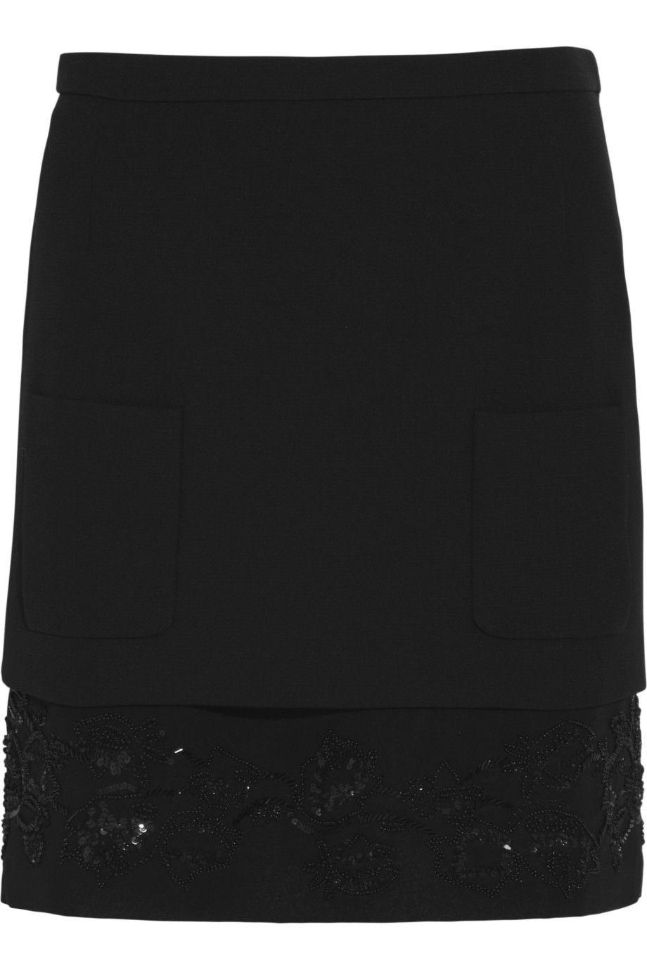No. 21|Grazia embellished stretch-crepe mini skirt|NET-A-PORTER.COM
