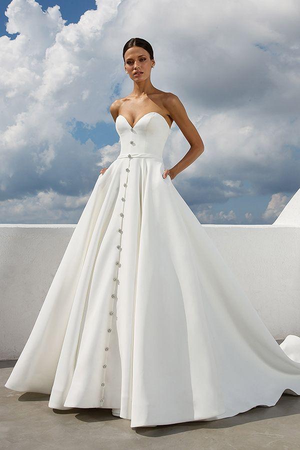 Strapless Satin Ballgown Wedding Dress Sweetheart Neckline Natural Waistline And Bu Wedding Dresses Satin Wedding Dress With Pockets Justin Alexander Bridal