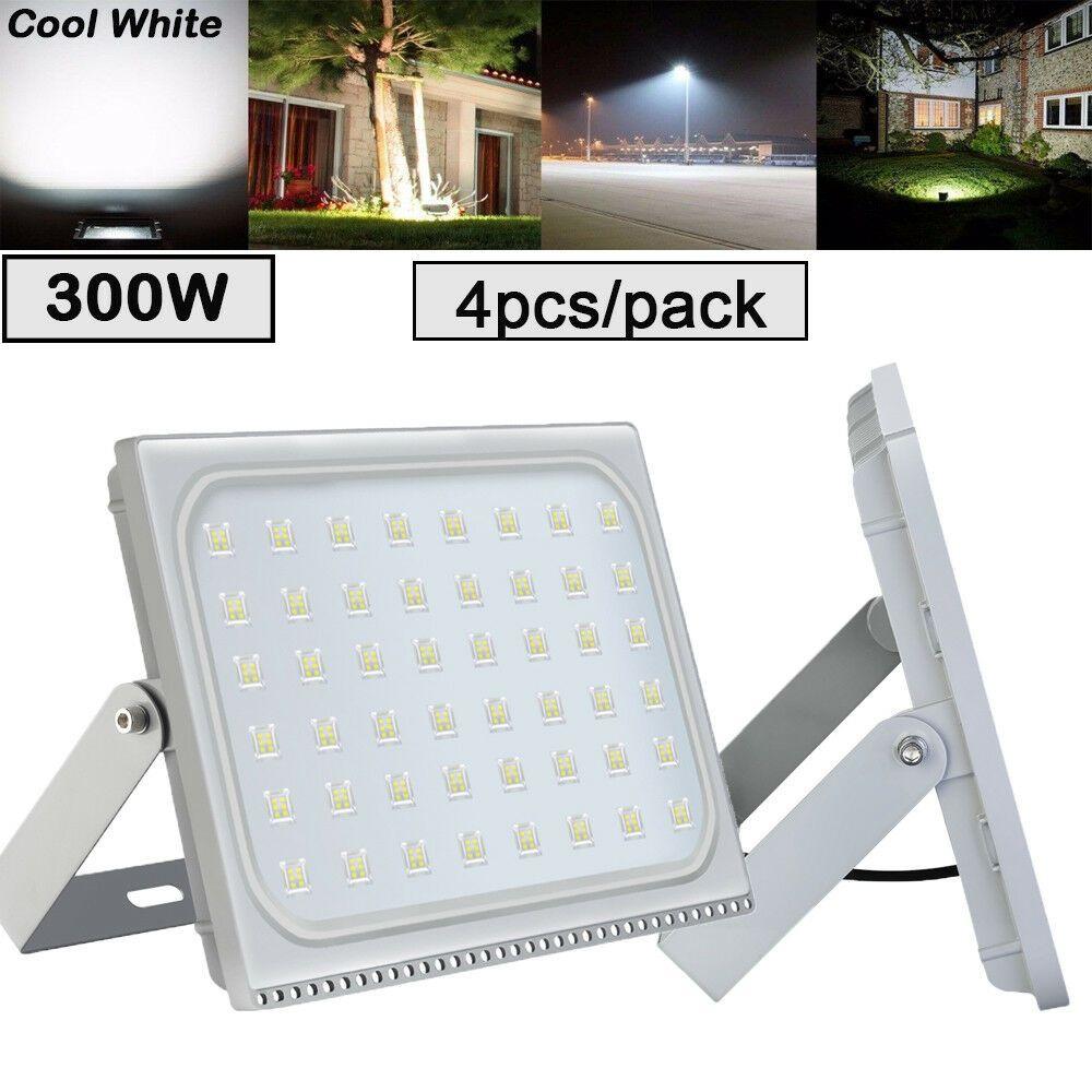 4x 300w Watts Slim Led Flood Light Super White Outdoor Lighting