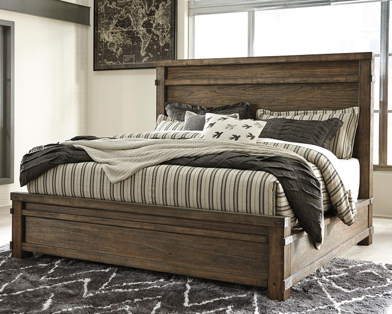 Leystone queen panel bed dark brown