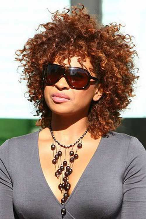 15 Short Curly Weave Frisur Kupfer Red Naturkrause Haare