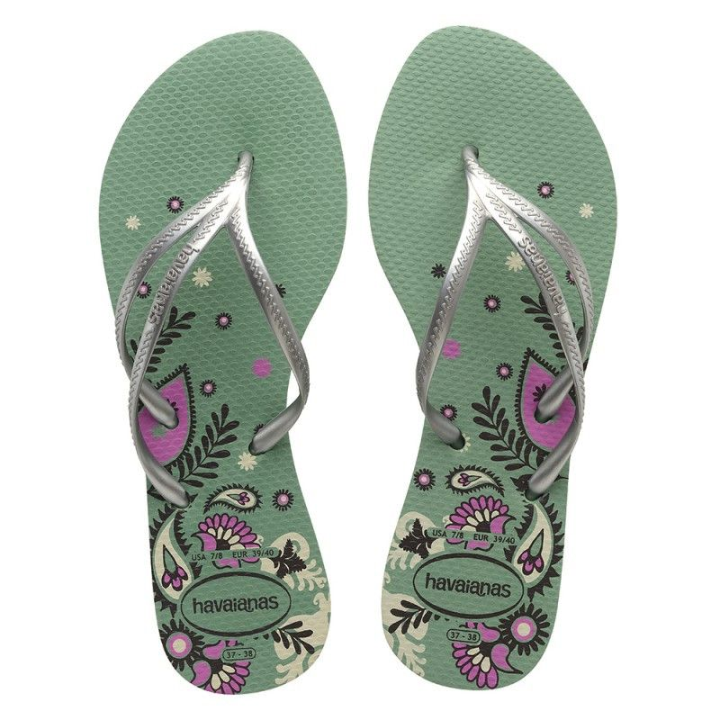 ccf1932bee5f00 Havaianas Tria Print Green Silver Infradito Price From  13
