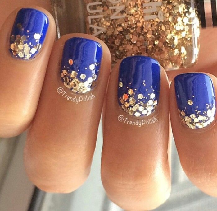 cool Chunky gold glitter ombre manicure idea.... | Gold Nail Art ...