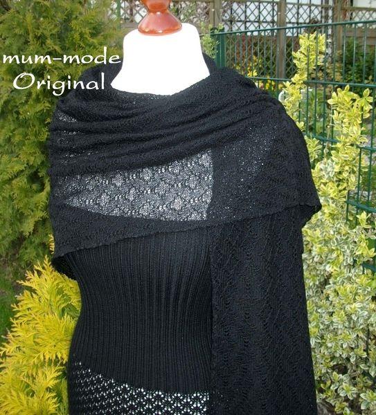 Feines+Merinotuch,+Lace,+Ajour+Stola+Schal,schwarz+von+m.u.m.+-+Mode+auf+DaWanda.com