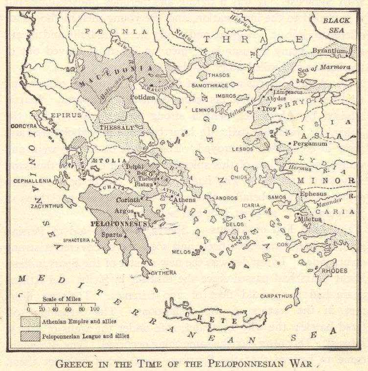 Map of Ancient Greece during the Peloponnesian War