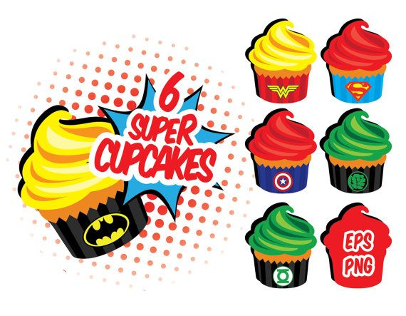 50% OFF Superheroe cupcakes, Superman, Hulk, Batman, Captain America, Wonder Woman, EPS, Digital Clipart, Digital Stickers, Instant Download